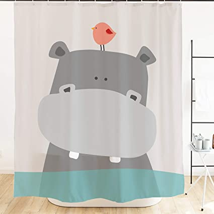 Ofat Home Cute Hippo Kids Shower Curtains Animal Baby River Horse Bird Ocean Fabric