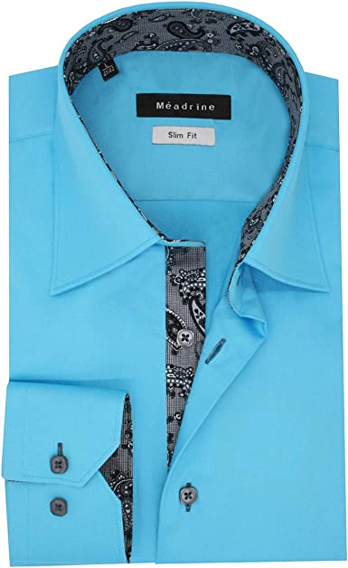 Meadrine - Camisa de color turquesa entallada, talla L, color turquesa: Amazon.es: Ropa y accesorios