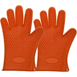 Grilling Gloves,Pengxiaomei Silicone BBQ /Cooking Gloves Versatile Heat Resistant BBQ Grill Gloves Oven Gloves Silicone Oven Mitts Orange
