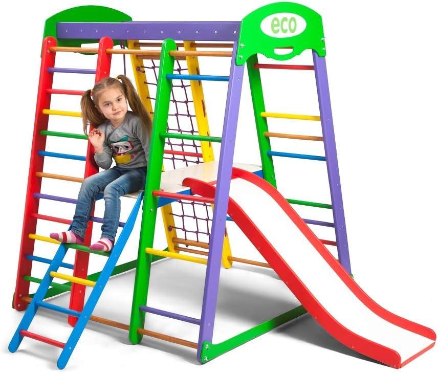 Centro de actividades con tobogán ˝Akvarelka-Plus-2˝, red de escalada, anillos, escalera sueco, campo de juego infantil, Juguetes: Amazon.es: Bebé