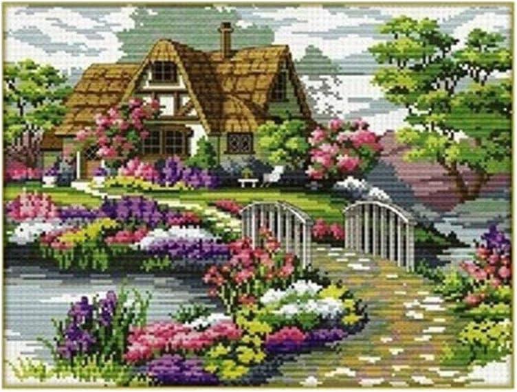 Kreuzstich Stickerei DIY Handarbeit Stickpackung Set Garten Haus