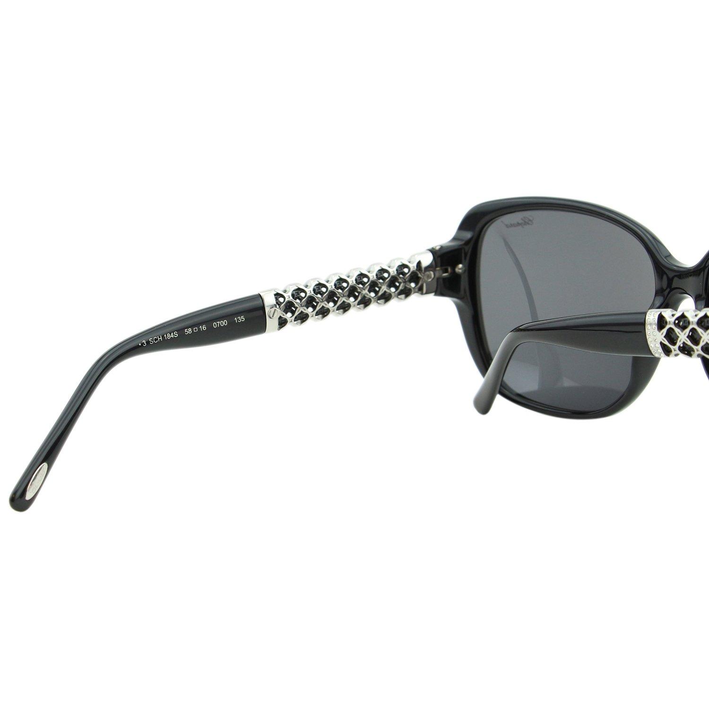 Chopard Imperiale SCH-184 700 Women Black Silver Metal Detail Square Sunglasses by Chopard (Image #7)