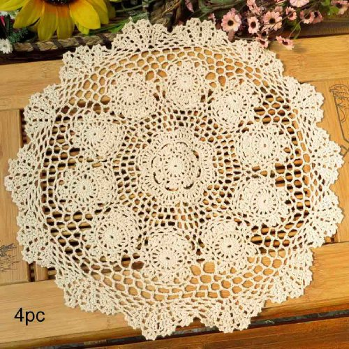 kilofly Crochet Cotton Lace Table Placemats Doilies Value Pack, 4pc, Rosary, Beige, 15 inch (Ivory Dollies)