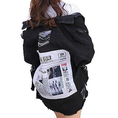Womens Denim Jacket Oversized Jeans Jacket Patch Designs Ripped Denim Coat Long Sleeve Black S