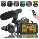 Videokamera WiFi Camcorder Full HD 1080P 30FPS 16X Digitalzoom Digitalkamera mit Mikrofon 3,00 Drehbarer Touchscreen Unterstützung Fernbedienung Zeitraffer Fotografie