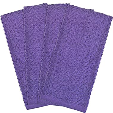 DII 100% Cotton, Basic Everyday Kitchen, Heavy Duty, Drying & Cleaning, 16 x 28  Zig Zag Weave Dishtowel, Set of 4- Neon Purple