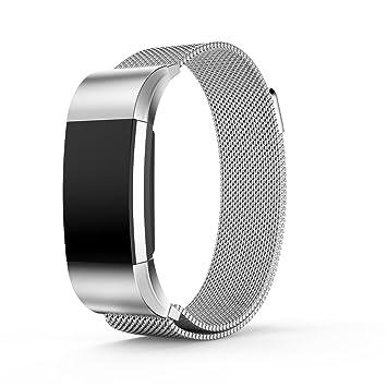 Ajustable bandas de repuesto, Milanese Loop Acero Inoxidable Pulsera Reloj Inteligente pulseras con único imán cerradura para Fitbit Charge 2, ...
