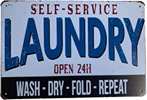 YUMBOR Metal Tin Sign Laundry Room Rules Sign Wall Decor Funny House Decor Retro Poster 12x8 Inch,Aluminum Sign