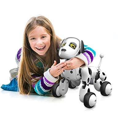 Robot chien A Reconnaissance Vocale,OVERMAL Rc Intelligent Chanter Danser à Distance Un Chien Robot Animal éLectronique Les Enfants Toy Rigolo Interactive Chiot Robot chien A Reconnaissance Vocale (Blanc)