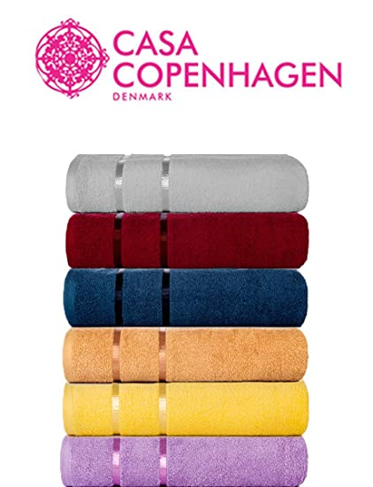 Casa Copenhagen Eternal 6 Piece 450 GSM Egyptian Cotton Hand Towel Set (40cmx60cm) - Blue Bird,Flamingo Pink,White,Italian Plum,Canyon Orange & Rum Raisan …