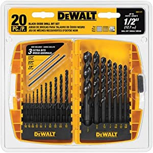 3. DEWALT 20-Piece Black-Oxide Metal Drill Bit Set