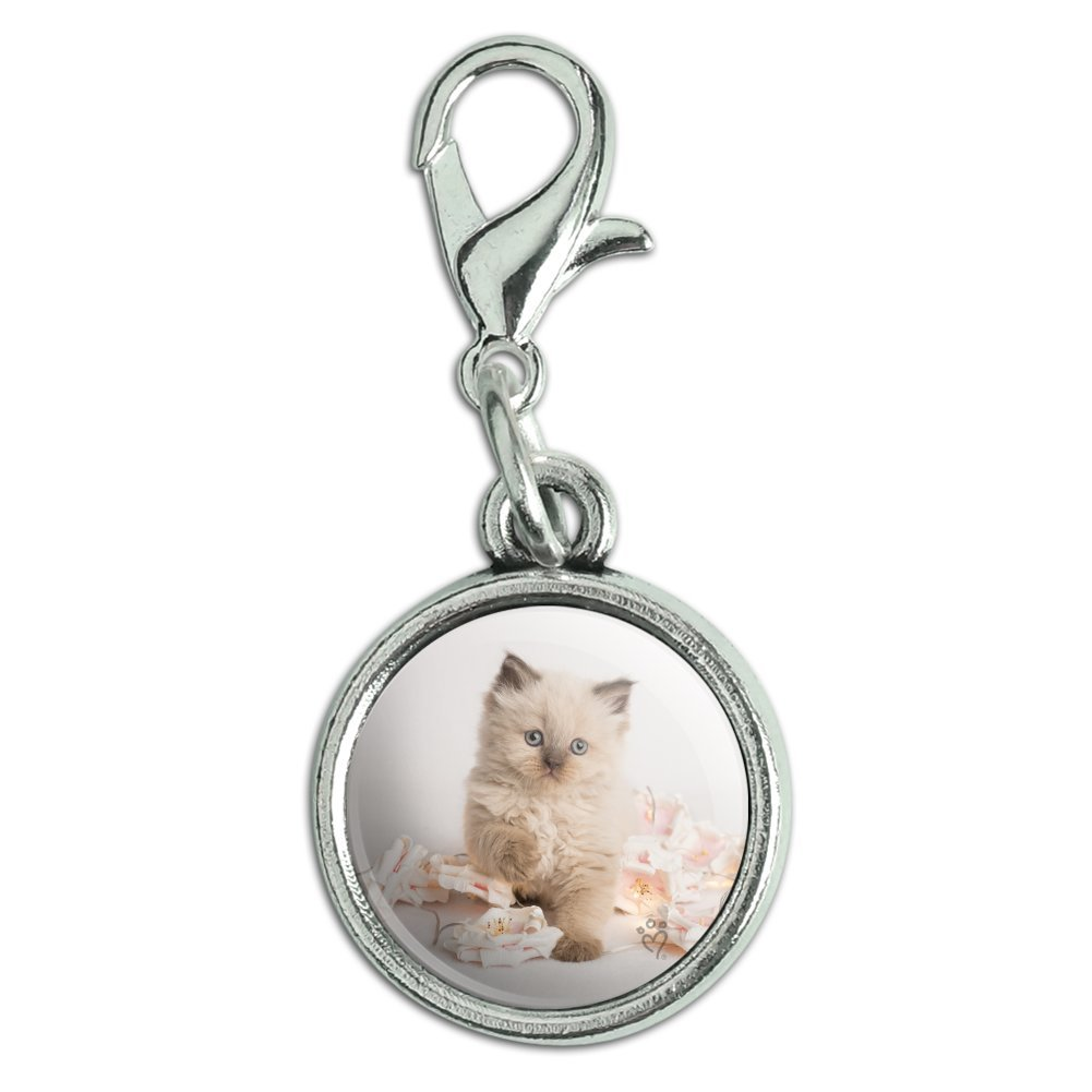 GRAPHICS /& MORE Miradoll Ragdoll Cat Kitten Flowers Antiqued Bracelet Pendant Zipper Pull Charm with Lobster Clasp