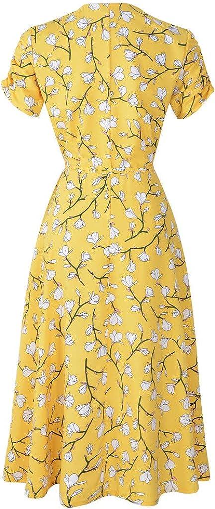 BAOHOKE Short Sleeve Floral Print Pleated Wrap Midi Dresses Womens Summer V Neck High Waist Dress