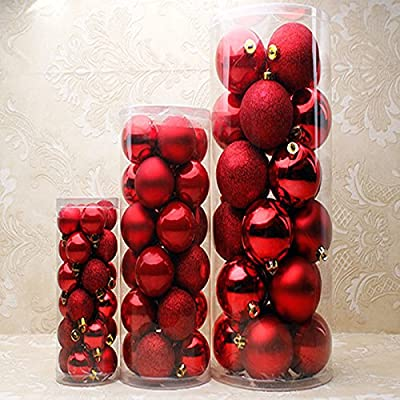 24PCS/ Lot Christmas Tree Decor Glitter Ball Bauble Hanging Xmas Party Ornament Decorations For Home (L, Red)