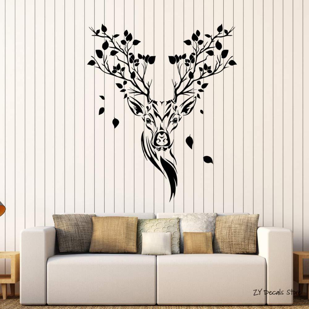 Tatuajes de pared Ramas de cabeza de ciervo de bosque étnico ...