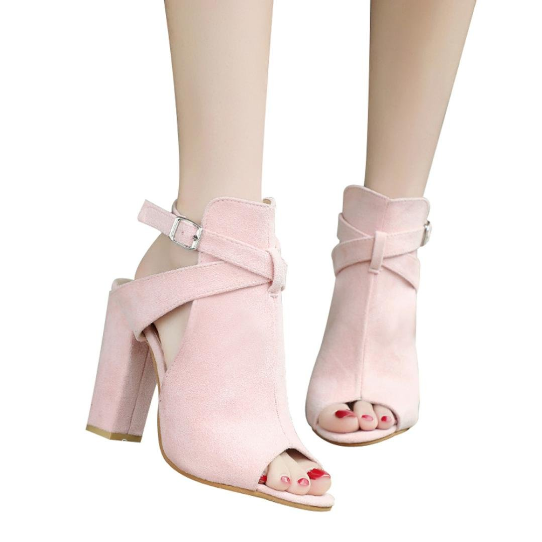 vermers Clearance Deals Women High Heeled Shoes Fashion Solid Flock Peep Toe Wedges Hasp Sandals(US:6, Pink) by vermers