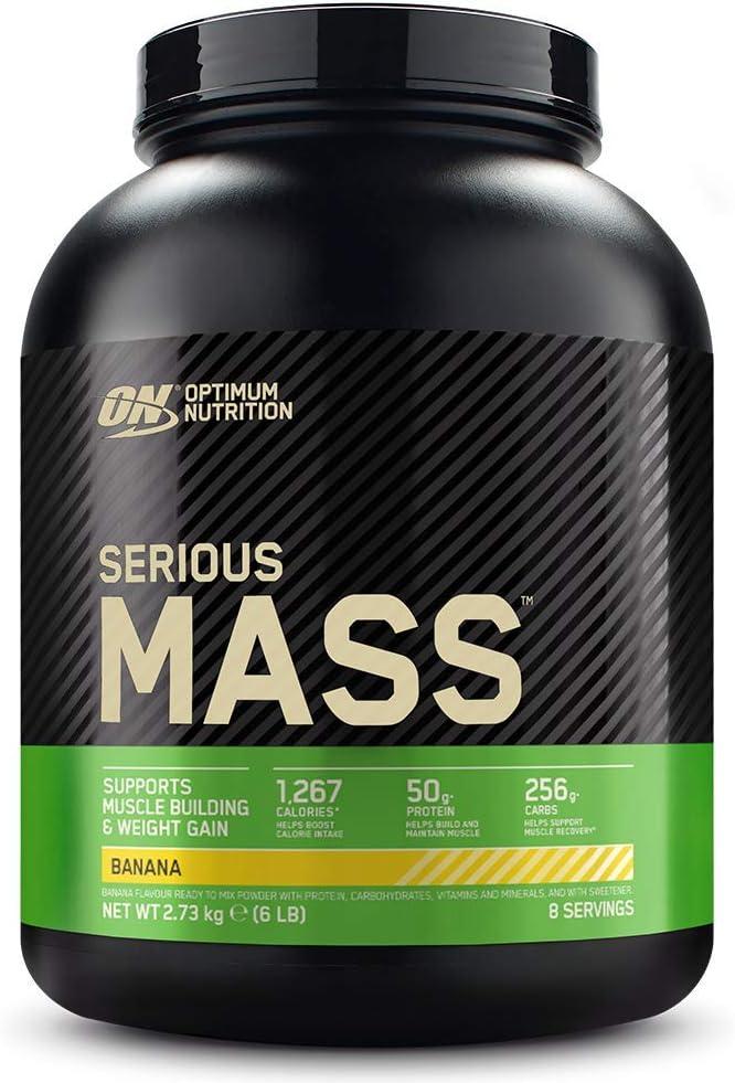 Optimum Nutrition Serious Mass Proteina en Polvo, Mass Gainer Alto en Proteína, con Vitaminas, Creatina y Glutamina, Plátano, 8 Porciones, 2,73kg, ...