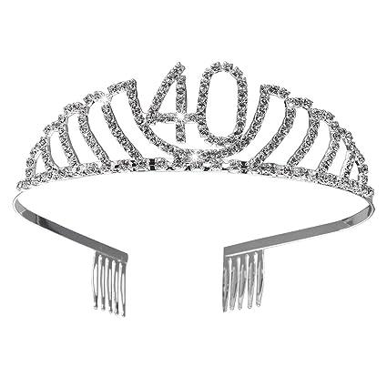 Frcolor Corona Cumpleaños 40 Años Diadema Cumpleaños Mujer Tiara Cristal con Peines (Plata)