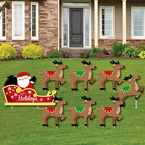 Santa's Reindeer - Yard Sign and Outdoor Lawn Decorations - Santa Claus Christmas Yard Signs - Set of 8]()