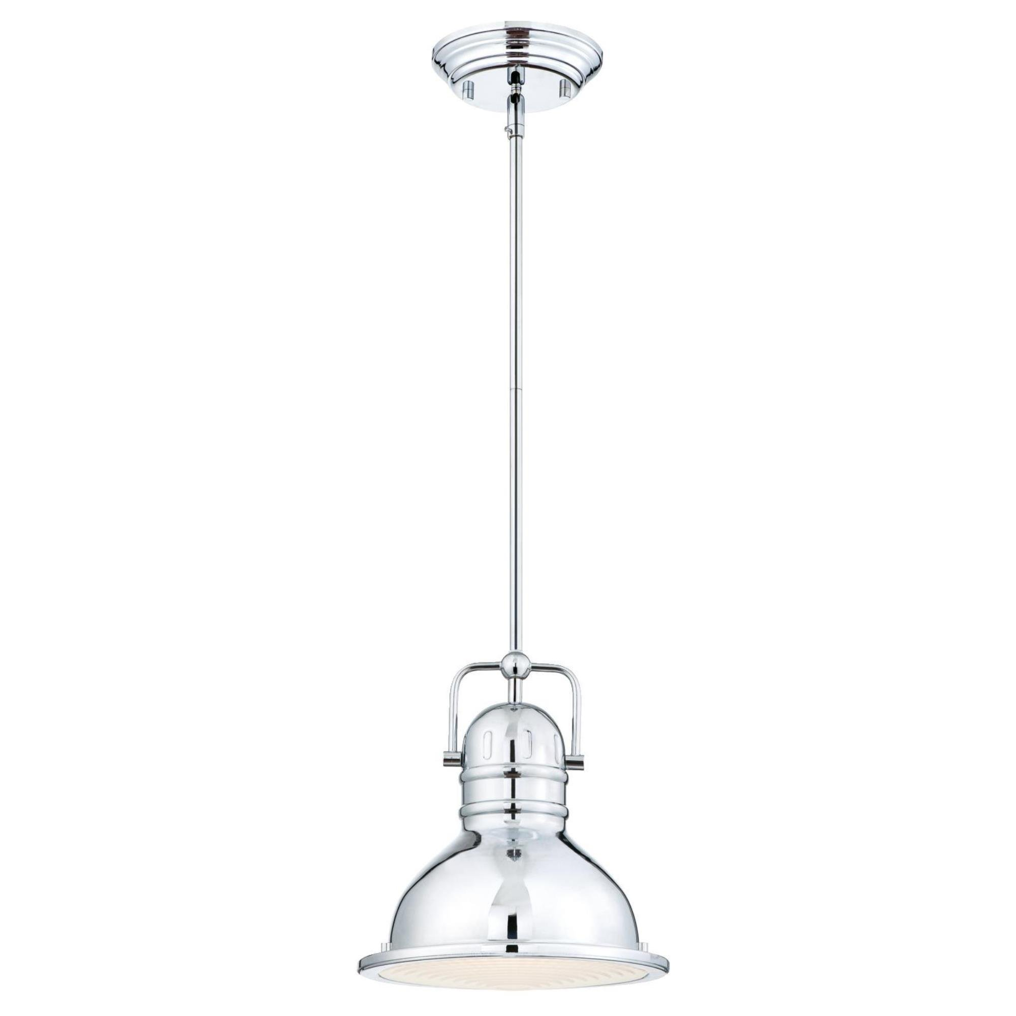 Westinghouse 63083B Boswell One-Light LED Indoor Mini Pendant with Frosted Prismatic Lens, 8.75-Inch Chrome with 11W LED