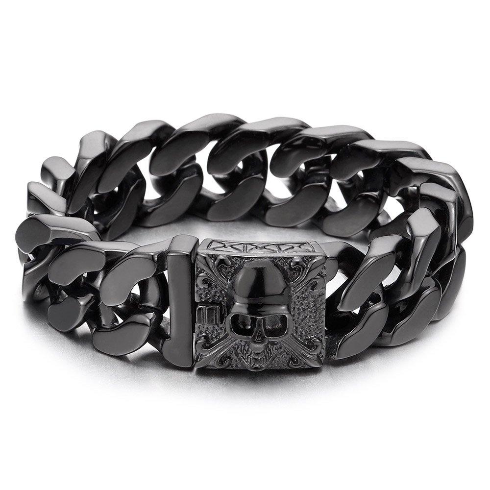 COOLSTEELANDBEYOND Mens Large Black Steel Curb Chain Bracelet with Fleur De Lis and Skull, Biker Gothic, Polished