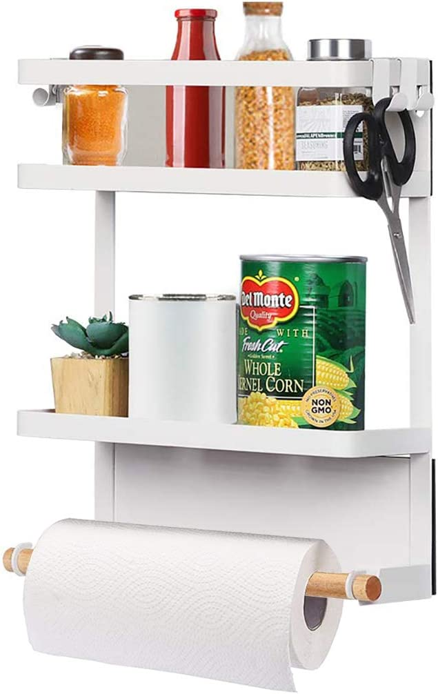 Fridge Spice Rack,Magnetic Storage Shelf with Paper Towel Holder Kitchen Refrigerator Organizer Rack(White)