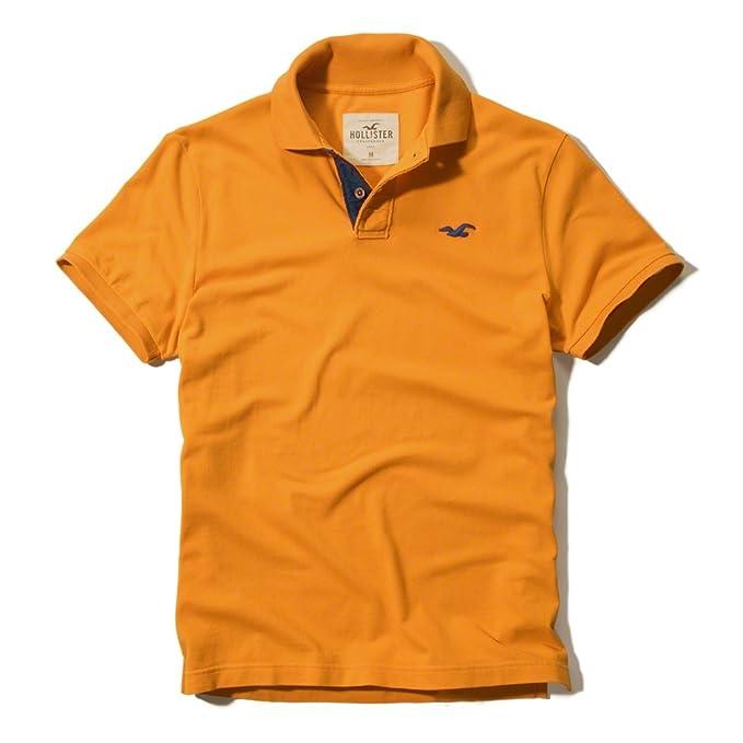 Hollister - Polo de manga corta en color naranja naranja naranja Medium