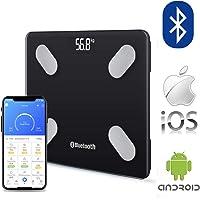 Wireless Bluetooth Digital Electronic Bathroom Scale 180KG Backlit Weight Management Smart Scales Body Fat Bone BMI Water (Black Bluetooth)