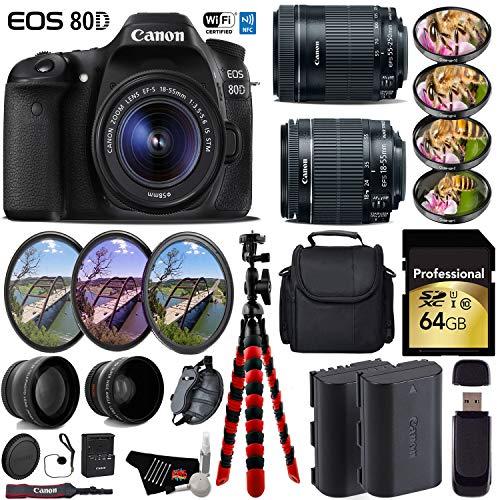 Canon EOS 80D DSLR Camera + 18-55mm is STM Lens & 55-250mm is STM Lens + UV FLD CPL Filter Kit + 4 PC Macro Kit + Wide Angle & Telephoto Lens + Case + Tripod + Card Reader- International Version -  6Ave