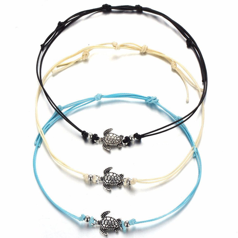 Multicolor LIEJIE Womens Turtle Beach Foot Chain Anklets Vintage Bracelet Jewelry Silver BeadsTassel Barefoot Sandals Chain Natural Shell and Crystal Tribal Foot Jewelry