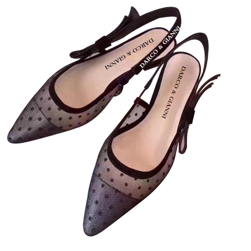 Darco & Gianni Women's Slingback Pump Shoe Dress Sandals Slip On Lace Mesh Pointed Toe Mid Kitten Flat Heel for Ladies Summer B07487NDJ3 10 B(M) US|Low Heel Black