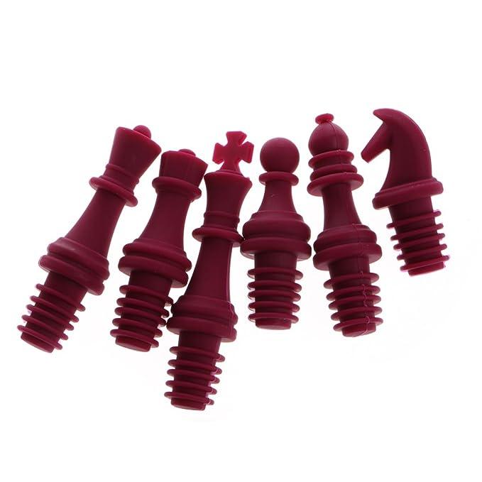 Compra Lamdoo Juego de 6 Tapones para Botellas de Vino Rosca de Silicona, Silicona, Rojo, 104×26mm en Amazon.es