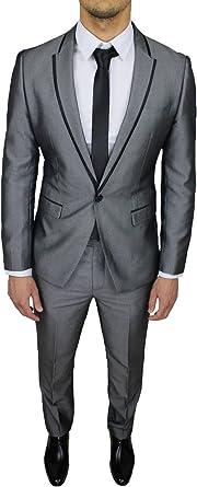 Vestiti Eleganti 2018 Uomo.Abito Completo Uomo Sartoriale Grigio Lucido Raso Slim Fit Vestito