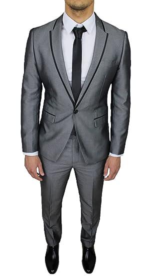 c252a5de9ff5 Abito completo uomo sartoriale grigio lucido slim fit vestito gessato  smoking elegante cerimonia  Amazon.it  Abbigliamento