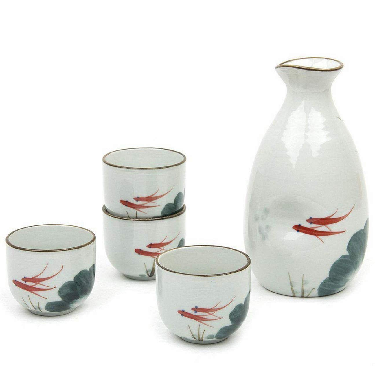 Happy Sales HSSS-RGFLTL, Japanese Design Goldfish Porcelain Sake Set