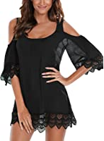 EVALESS Women's Casual Loose Crochet Cold Shoulder Three Quarter Sleeve Dress Cover Up