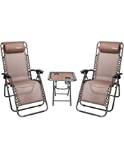 Bonnlo 3 PCS Zero Gravity Chair Patio Chaise Lounge Chairs Outdoor Yard Pool Recliner Folding Lounge Table Chair Set