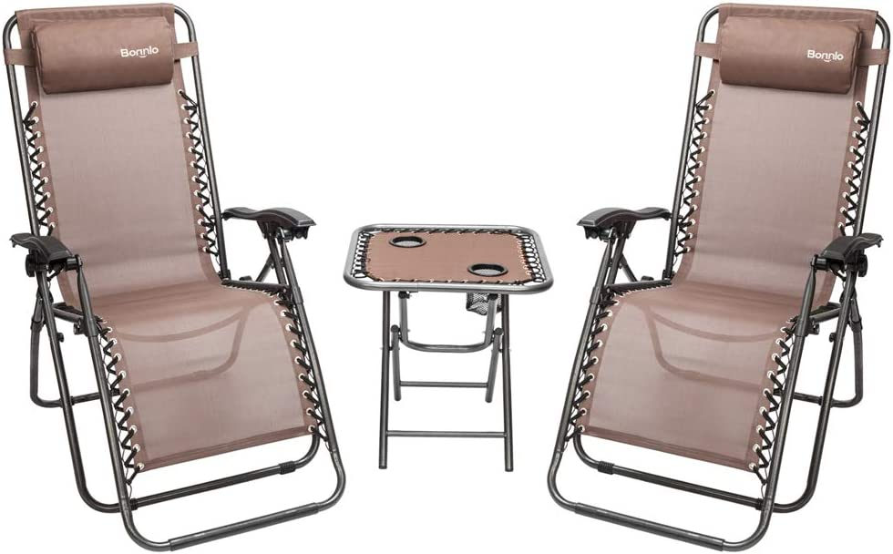 Bonnlo 3 PCS Zero Gravity Chair Patio Chaise Lounge Chairs Outdoor Yard Pool Recliner Folding Lounge Table Chair Set (Brown)