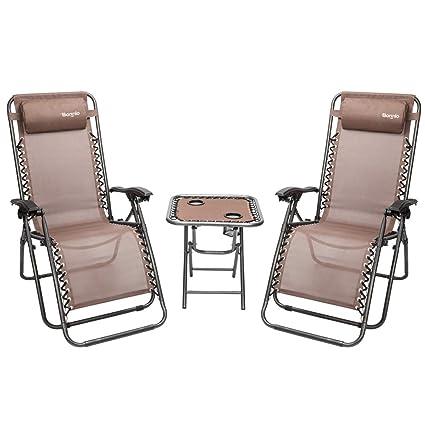 Amazon.com: Bonnlo - Juego de 3 sillas reclinables plegables ...