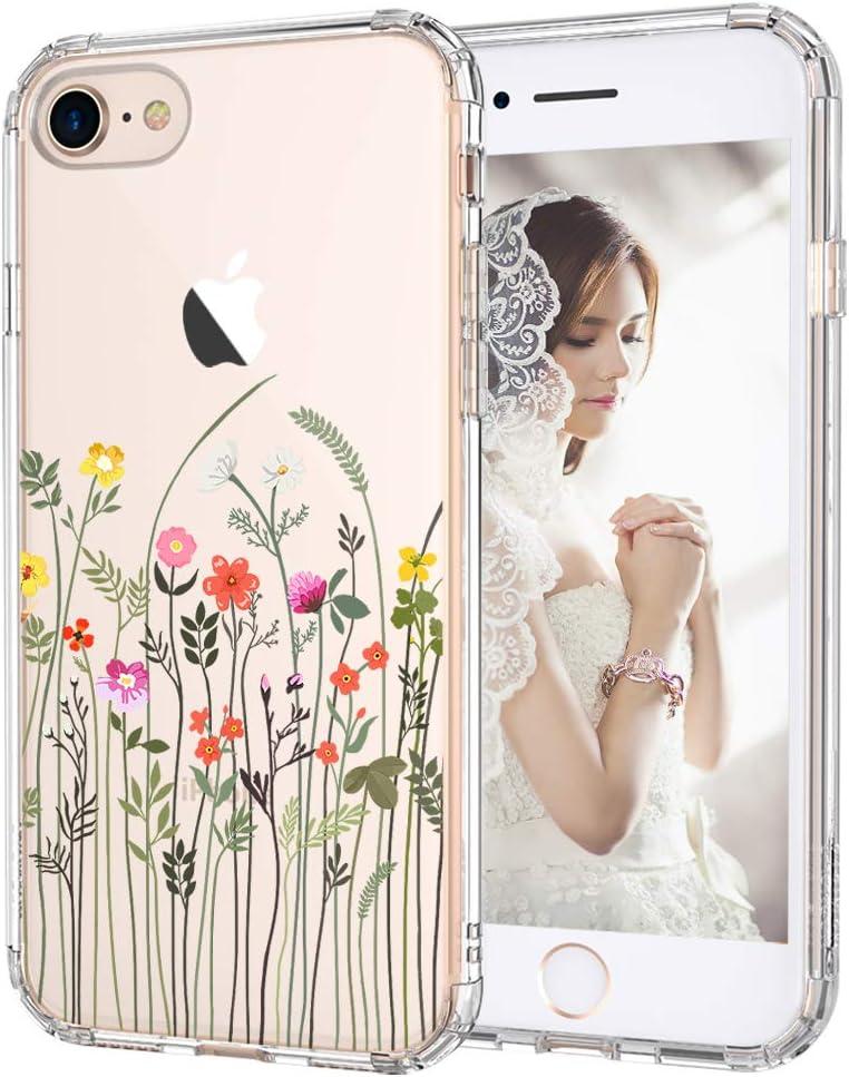 MOSNOVO Wildflower Floral Flower Pattern Designed for iPhone SE 2020 Case/Designed for iPhone 8 Case/Designed for iPhone 7 Case - Clear