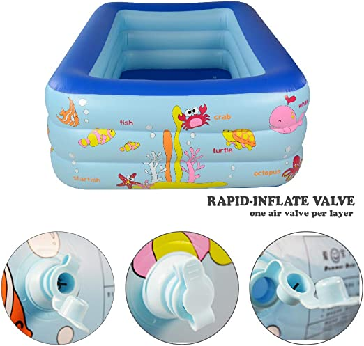 Amazon.com: WateBom - Piscina inflable para niños, Azul 150 ...