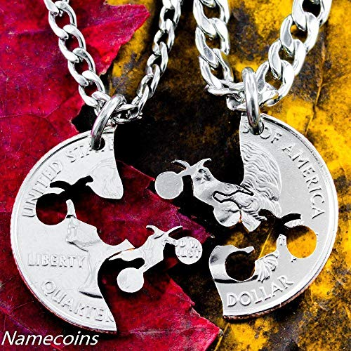 Dirt bike necklaces, motocross couples, Interlocking Relationship quarter, hand cut coin, By NameCoins