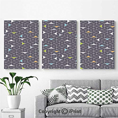 Wall Art Decor 3 Pcs High Definition Printing Lines and Triangles Geometric Pattern Soft Color Image Connecting Dots Painting Home Decoration Living Room Bedroom Background,16