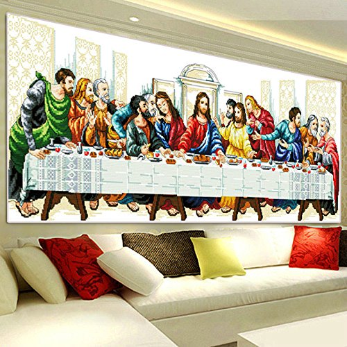 Kisstaker 95x41cm DIY Needlework The Last Supper Cross Stitch Handmade Arts, Crafts & Sewing Cross Stitch