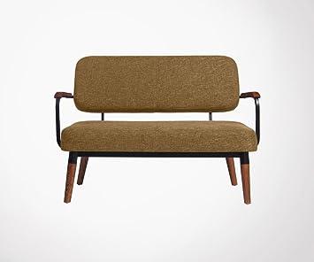 Pequeño sofá escandinava 2 plazas tela reposabrazos madera ...