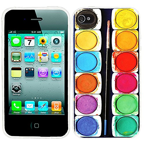 iPhone 4s Case, iphone4s case,iphone 4 case,iphone4 case, ChiChiC full Protective unique Stylish Case slim flexible durable Soft TPU Cases Cover for iPhone 4 4g 4s,colorful watercolor painting box (4 Color Cover Case)