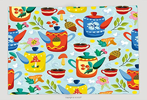 Supersoft Fleece Throw Blanket Cute Vector Seamless Pattern Of Teapots And Tea Cups And Floral Elements Cozy Pattern Tea Time 327495947