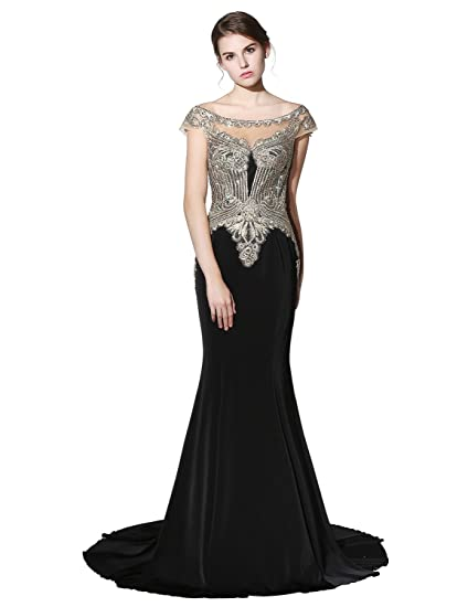 Clearbridal Womens Black Starlight Satin Long Mermaid Prom Party Gowns Formal Evening Dresses CLX401 UK6