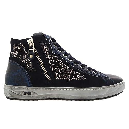 Nero Giardini - Sneakers Alte Donna in Pelle e camoscio - Blu A806471D 200  - A806471D 200  Amazon.it  Scarpe e borse 89cc04dffb4