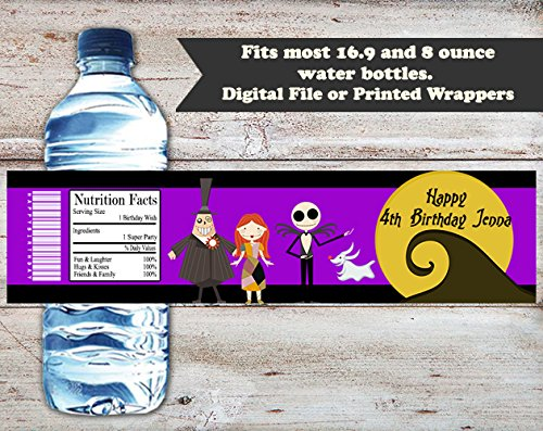 Nightmare Before Christmas Personalized Halloween or Birthday Water Bottle Wrappers, Set of 10 Party Favors, Water Bottle (Halloween Labels For Water Bottles)